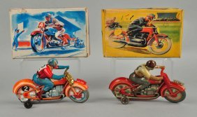 Lot Of 2: European Tin Litho Wind Up Motorcycles.