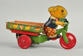 Chein Tin Litho Wind-up Rabbit Cart Toy.