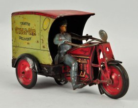 Hoge Tin Litho Wind Up Motorcycle Delivery Toy.