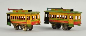 Lot Of 2: American Made Tin Litho Trolleys.