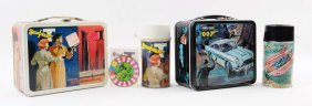 Lot Of 2: Secret Agent Themed Lunchboxes & Thermos