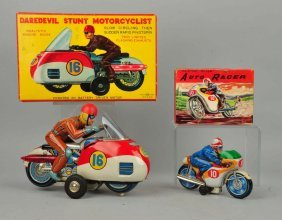 Lot Of 2: Japanese Tin Litho Friction Motorcycles.
