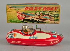 Japanese Tin Litho Friction Pilot Harbor Boat.