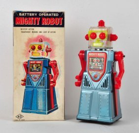 Japanese Tin Litho Battery-operated Mighty Robot.