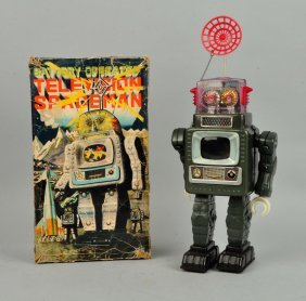 Tin Litho & Plastic Battery Op Television Spaceman