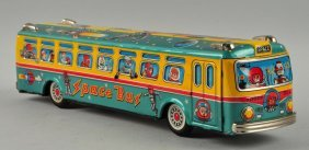 Japanese Tin Litho Friction Space Bus.