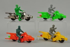Lot Of 4: Plastic Archer Space Cycle Toys.