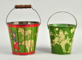 Lot Of 2: Very Early Circus Themed Sand Pails.