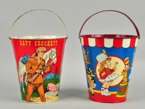 Lot Of 2: Later Ohio Art Tin Litho Sand Pails.