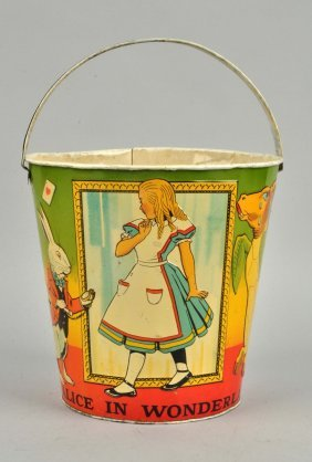 Very Scarce Tin Litho Alice In Wonderland Pail.