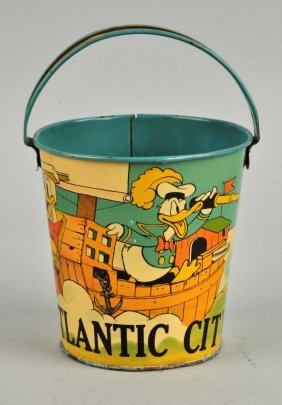 Disney Tin Litho Donald Duck Themed Sand Pail.
