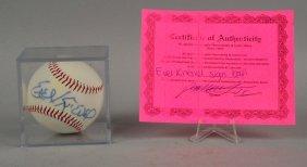 Evel Knievel Autographed Baseball.