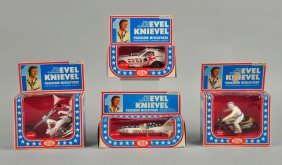 Lot Of 4: Ideal Evel Knievel Vehicle Toys.