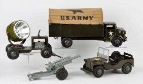 Lot Of 4: Marx Pressed Steel Us Army Vehicle Set.