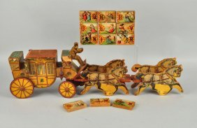 Early American Made Paper On Wood Stage Coach Toy.