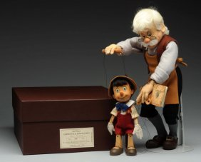 R. John Wright Geppetto And Pinocchio Marionette.