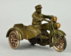 Cast Iron Motorcycle With Sidecar.