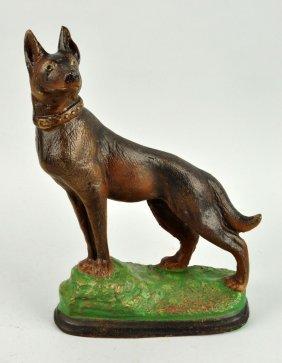 Cast Iron Oversized German Shepherd Dog Doorstop.
