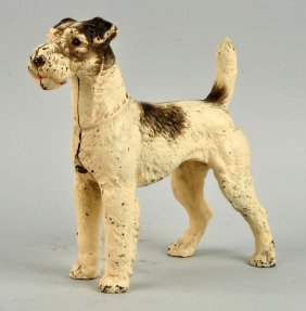Cast Iron Fox Terrier Dog Doorstop.
