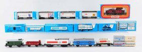 Lot Of 11: Marklin Locomotive And Freight Cars.