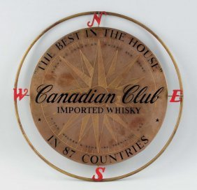 Canadian Club Whiskey Metal Sign.