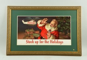 Cardboard Coca-cola Santa Advertising Sign.
