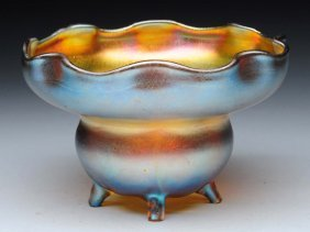 Signed Tiffany Fluted Gold Iridescent Footed Bowl.