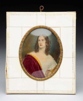 Miniature Ivory Painting Of A Young Lady.