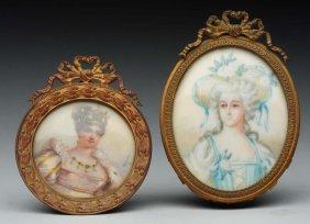 Lot Of 2: Miniature Ivory Portraits.
