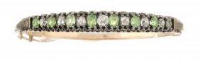 A Victorian, Diamond And Demantoid Bangle Bracelet