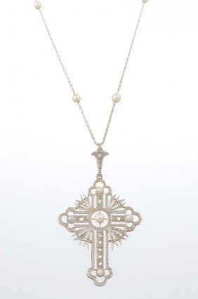 An Edwardian Pearl And Diamond Pendant Necklace.