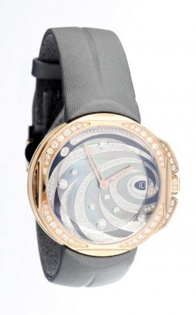 A Lady's Diamond Strap Watch, Clerc.
