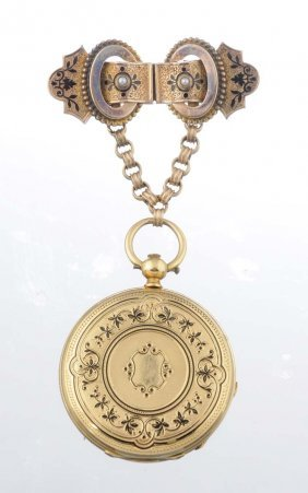 Lady's Enamel Pocket Watch Brooch, Patek Philippe