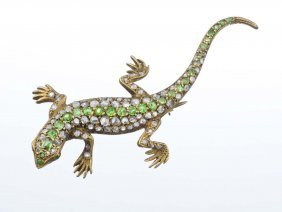 A Diamond And Demantoid Lizard Brooch.