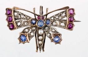 A Victorian Gem Set, Diamond And Seed Pearl Brooch
