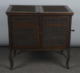 Wicker Phonograph Attributed To Heywood Wakefield