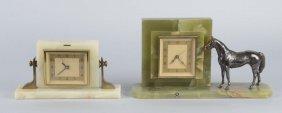 Lot Of 2: Onyx Mantle Clocks