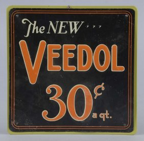 The New Veedol 30 ¢ A Quart Embossed Tin Sign