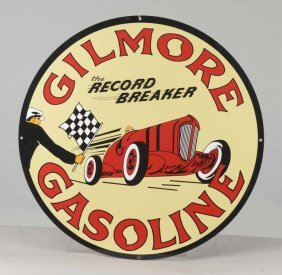 Reproduction Gilmore Gasoline Round Tin Sign