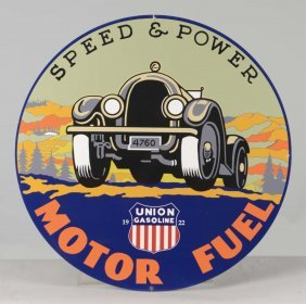 Reproduction Union Gasoline Round Tin Sign