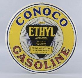 Conoco Gasoline With Ethyl Logo Sign