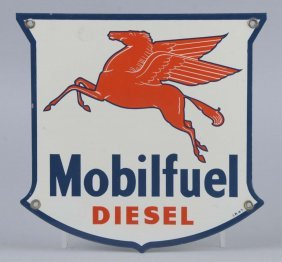 Mobilfuel Diesel With Pegasus Shield Shaped Sign