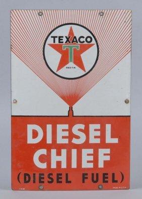 Texaco (white-t) Diesel Chief Porcelain Sign