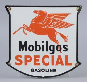 Mobilgas Special With Drop Leg Shield Shaped Sign