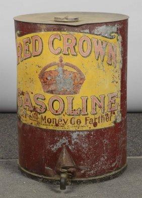 Red Crown Gasoline Metal Tank