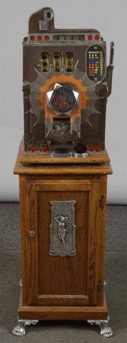 5¢ Mills Brown Front Slot Machine And Stand