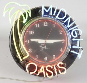 Midnight Oasis Palm Tree Neon Clock