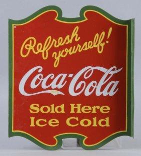 Coca Cola Sold Here Porcelain Die Cut Flange Sign