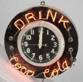 Drink Coca Cola Round Neon Clock