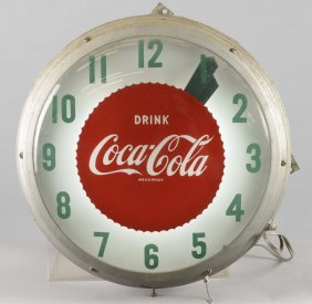 Drink Coca Cola Round Lighted Clock
